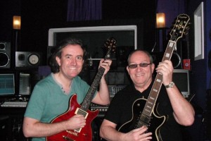 Tom Ross and I at Arkham Studios Feb 2011 - not a good chord I'm playing there!