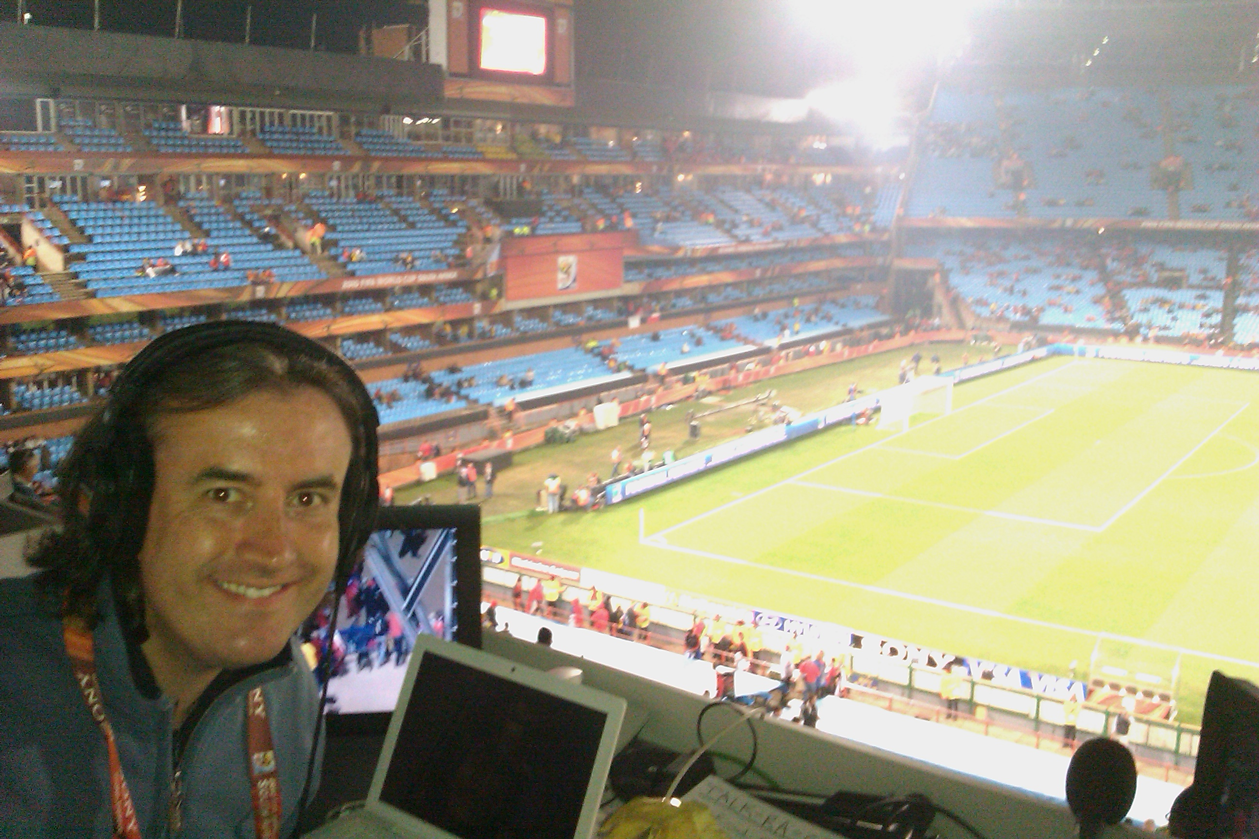 Setting up in Pretoria ahead of Chile v Spain - thermals in full effect!