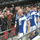 Stephen Carr leads the Blues lads down the steps with the Cup-my grin was wider!