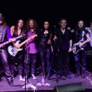 Leather And Lace (l-r) Gary (bass) Dan (guitar), Paul (vox), Tanyth (vox), Me (drums), Micky (guitar), Oscar (keyboards)